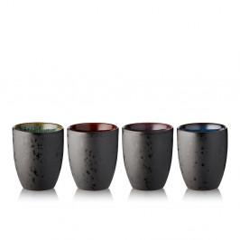 Sada 4 čiernych kameninových termohrnčekov Bitz Basics Black, 270 ml