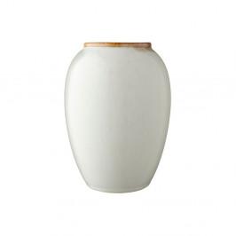 Krémovo-biela kameninová váza Bitz Basics Cream, výška 20 cm