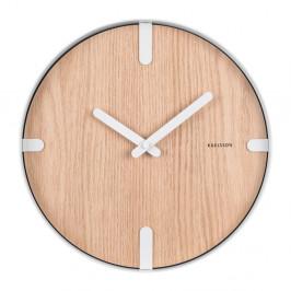 Nástenné hodiny z dubovej dyhy Karlsson Dashed, ø 30 cm