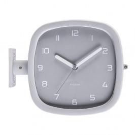 Sivé nástenné hodiny Karlsson Slides, 29 x 24,5 cm