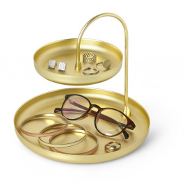 Dvojposchodový stojan v zlatej farbe na šperky Umbra Poise