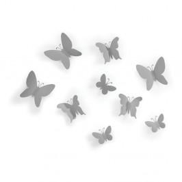 Sada 9 sivých nástenných 3D dekorácií Umbra Butterflies