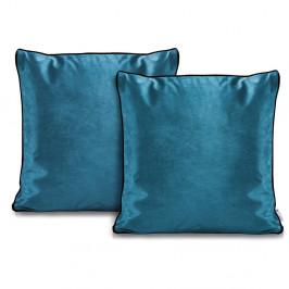 Sada 2 modrých obliečok na vankúše DecoKing Rimavelvet Marine, 45 × 45 cm