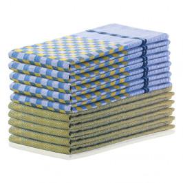 Súprava 10 žlto-modrých bavlnených utierok DecoKing Louie, 50 x 70 cm