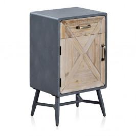 Nočný stolík so sivými detailmi Geese Rustico Duro