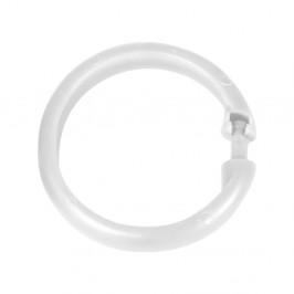 Sada 12 kusov bielych plastových krúžkov na sprchový záves Wenko
