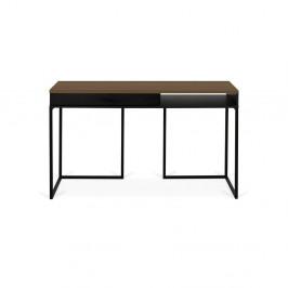 Pracovný stôl s doskou z orecha a čiernymi nohami TemaHome City