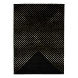 Čierny koberec Universal Gold Stripes, 160 x 230 cm