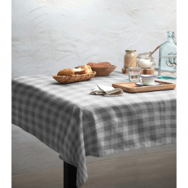 Obrus Linen Couture Grey Vichy, 140 x 140 cm