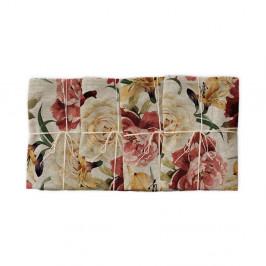 Sada 4 látkových obrúskov s prímesou ľanu Linen Couture Roses, 43 x 43 cm