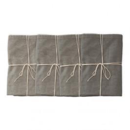 Sada 4 látkových obrúskov s prímesou ľanu Linen Couture Grey, 43 x 43 cm