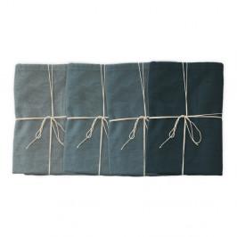 Sada 4 látkových obrúskov s prímesou ľanu Linen Couture Blue, 43 x 43 cm