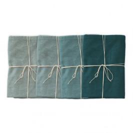 Sada 4 látkových obrúskov s prímesou ľanu Linen Couture Turquoise, 43 x 43 cm