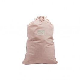 Látkový vak na bielizeň s prímesou ľanu Linen Couture Bag Rose, výška 75 cm