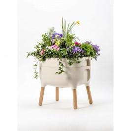 Béžová samozavlažovacia pestovateľská nádoba Plastia Low Urbalive, výška 48 cm