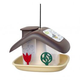 Hnedé kŕmidlo pre vtáctvo Plastia Domek