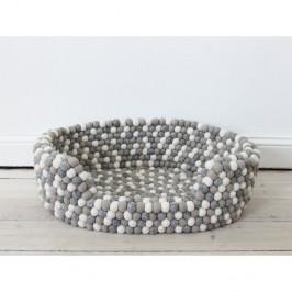 Svetlý sivo-biely guľôčkový vlnený pelech pre domáce zvieratá Wooldot Ball Pet Basket, 80 x 60 cm