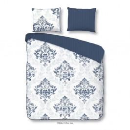 Obliečky z bavlneného saténu na dvojlôžko Descanso Elisa Blue, 200×240 cm