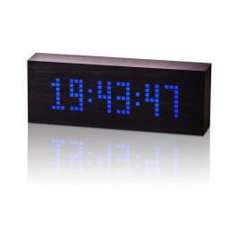 Čierny budík s modrým LED displejom Gingko Message Click Clock