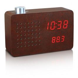 Hnedý budík s červeným LED displejom a rádiom Gingko Click Clock