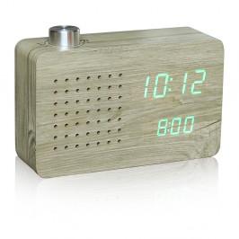 Svetlý budík so zeleným LED displejom a rádiom Gingko Click Clock