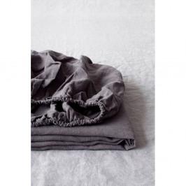 Tmavosivá ľanová elastická plachta Linen Tales, 180 x 200 cm