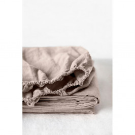 Svetlohnedá ľanová elastická plachta Linen Tales, 90 x 200 cm