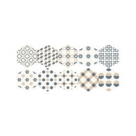 Súprava 10 samolepiek na podlahu Ambiance He×agons Gotzone, 20 × 18 cm