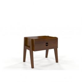 Nočný stolík z borovicového dreva so zásuvkou v dubovom dekore Skandica Visby Radom