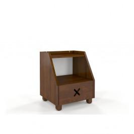 Nočný stolík z borovicového dreva so zásuvkou a policou v dubovom dekore Skandica Visby Ustka