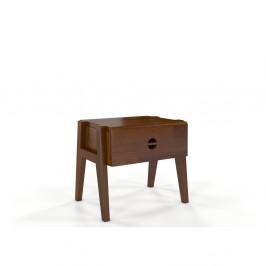 Nočný stolík z borovicového dreva so zásuvkou v orechovom dekore Skandica Visby Radom