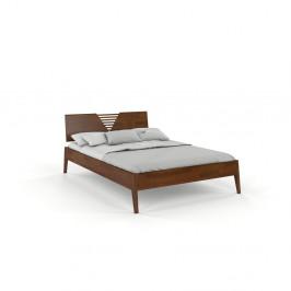 Dvojlôžková posteľ z borovicového dreva v orechovom dekore Skandica Visby Wolomin, 140 x 200 cm