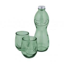 Set svetlozelenej fľaše na vodu a 2 pohárov z recyklovaného skla Esschert Design Water