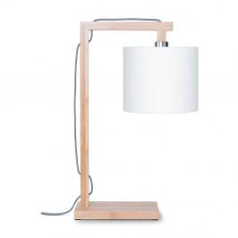 Stolová lampa s bielym tienidlom a konštrukciou z bambusu Good&Mojo Himalaya