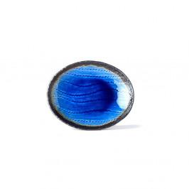 Modrý keramický oválny tanier MIJ Cobalt, 24x20cm