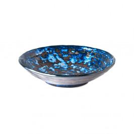 Modrý keramický hlboký tanier MIJ Copper Swirl, ø24cm