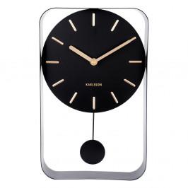 Čierne nástenné hodiny s kyvadlom Karlsson Charm, výška 32,5 cm