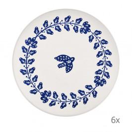 Sada 6 bielo-modrých porcelánových tanierov Mia Bloom, ⌀ 26 cm