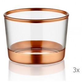 Sada 3 pohárikov Mia Glam Bronze, ⌀ 8 cm