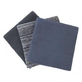 Sada 3 modrých pletených bavlnených utierok na riad Blomus, 25 x 25 cm
