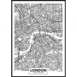 Nástenný plagát v ráme MAP/LONDON, 50 x 70 cm