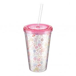 Svetloružový pohárik so slamkou Premier Housewares Casey, 450 ml