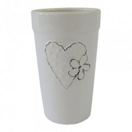 Keramická váza VK43 biela so srdiečkom a kvetinkou (18 cm)