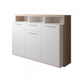 Komoda Segan (3x dvere, zásuvka, 3x polica, dub sonoma, biela)