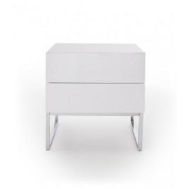 Nočný stolík Heda (2 zásuvky, biela lesklá, chrómovaný rám)
