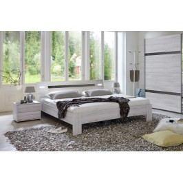 Nizza - komplet, posteľ 180cm (dub biely,šedá vysoký lesk)