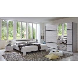 Nizza-skriňa,2xšatníková tyč,posteľ (dub biely+sivá vysoký lesk)