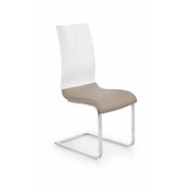 K198 - jedálenská stolička (eco koža cappuccino-biela, chróm)