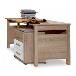 Game - Pracovný stôl, mobilné komoda (biela, dub)