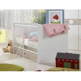 Kimba - Detská postieľka s úložným priestorom (biela, dub)